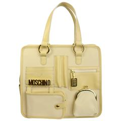 Moschino Cream Nylon/Leather Tote Bag With Strap