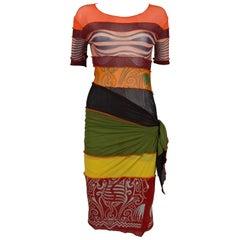 Jean Paul Gaultier mesh patchwork pareo dress, C. 1996