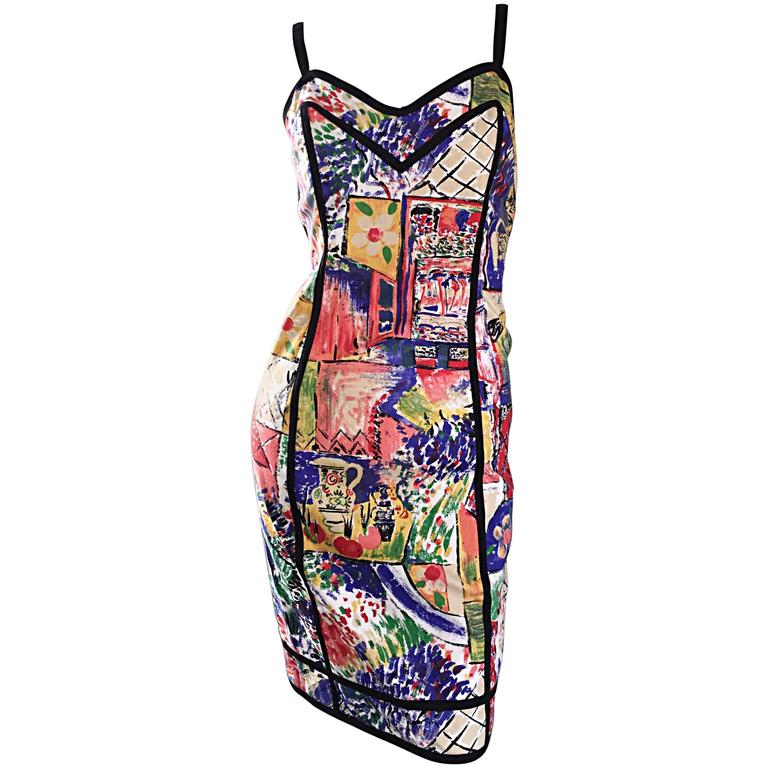 1990s Jan Barboglio Hand Painted Watercolor Vintage Cotton Novelty Dress 1
