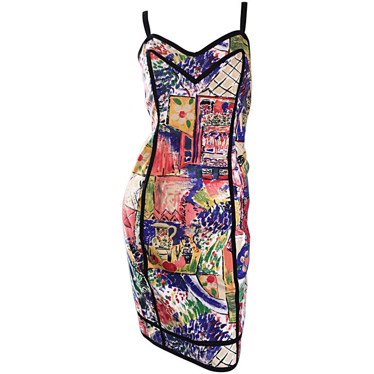 1990s Jan Barboglio Hand Painted Watercolor Vintage Cotton Novelty Dress For Sale