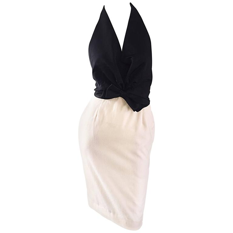 Vintage Bill Blass Black + Ivory Size 2 Sexy Open Back Halter Cocktail Dress For Sale
