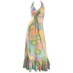 Fabulous 1970s Elliette Lewis Colorful Flower Cotton Voile 70s Halter Maxi Dress