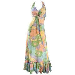 Fabulous 1970s Elliette Lewis Colorful Flower Cotton Voile 70s Halter Maxi Dress