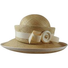 Suzanne Couture Millinery Tan Straw Hat with Ivory Ribbon Trim & Bow