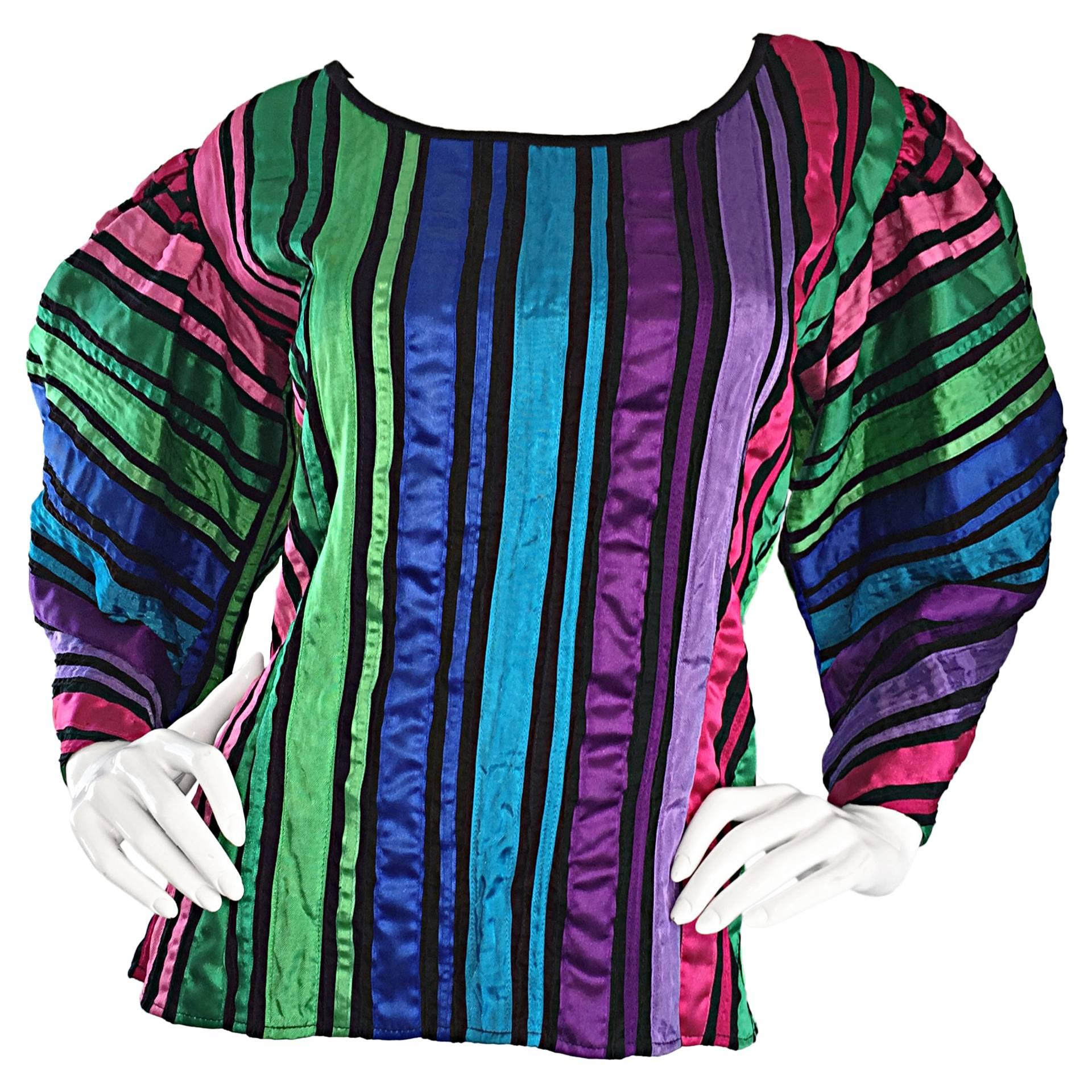 Tachi Castillo Vintage Mexican Colorful Rainbow Striped Cotton Avant Garde Top