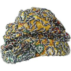 Strawbridge & Clothier Vintage Multicolor Ruched Embroidered Hat - 1960's