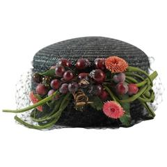 Vintage Black Straw Hat with Net and Plastic Fruit