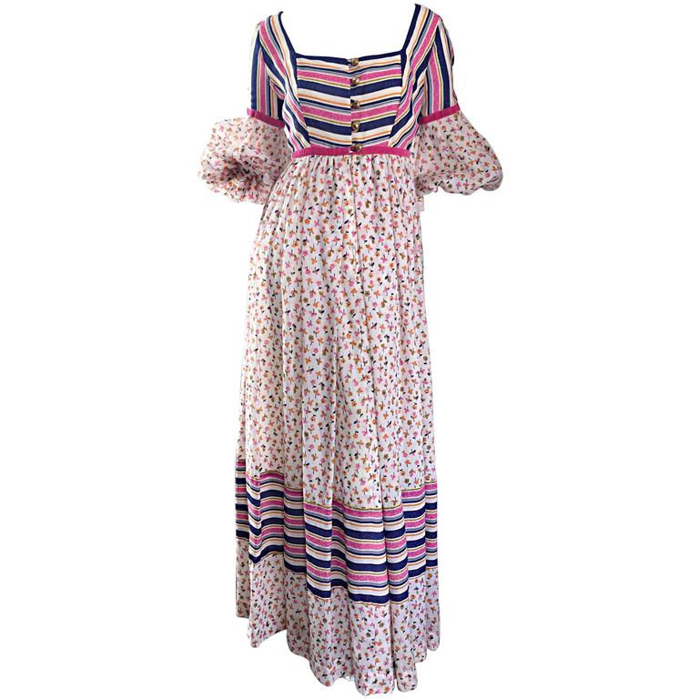 Jay Morley for Fern Violette 70s Peasant Sleeve Boho Pink Silk Cotton Maxi Dress For Sale