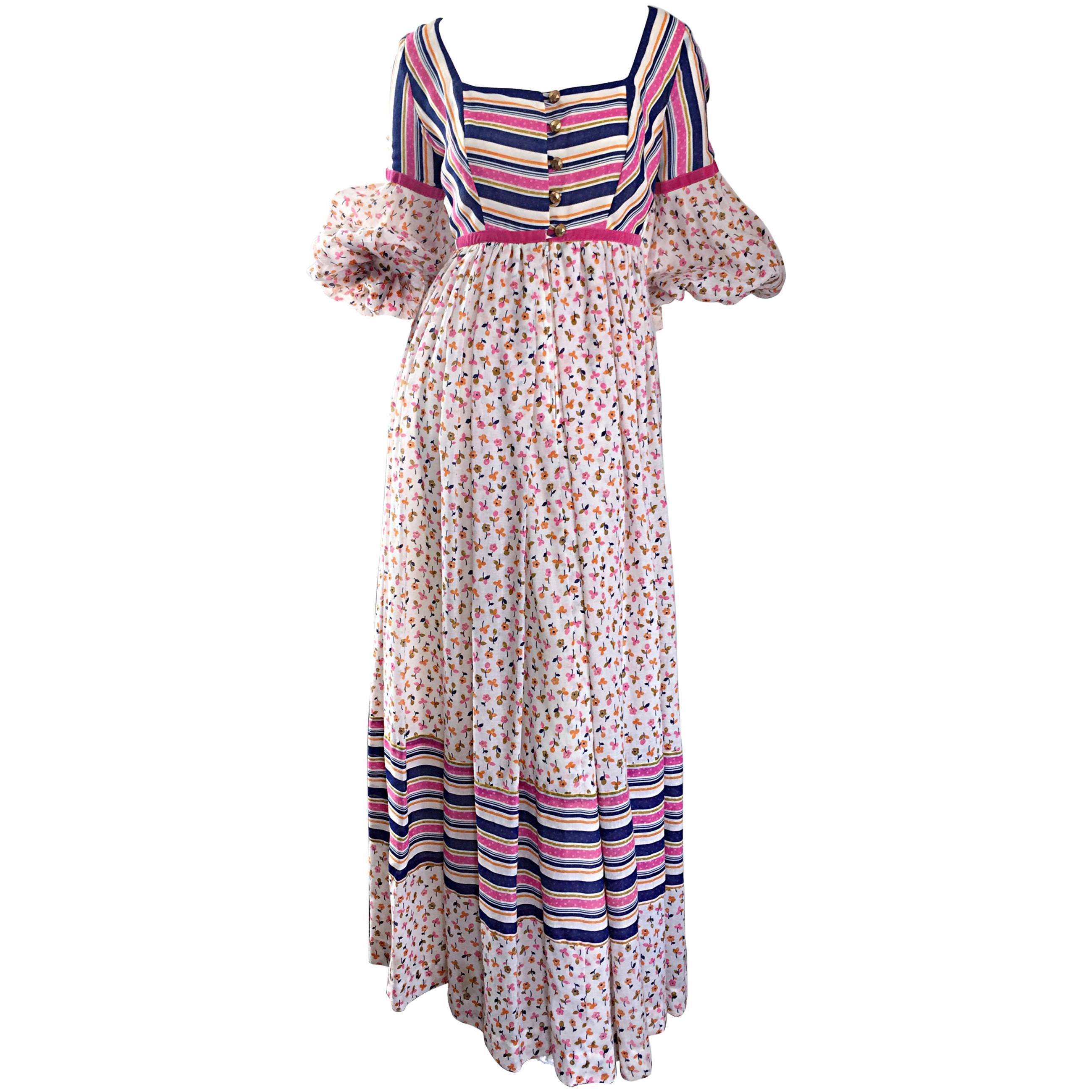 70s Jay Morley for Fern Violette Peasant Sleeve Boho Pink Silk Cotton Maxi Dress
