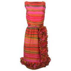 1960s Bill Blass Multicolored Chiffon Striped day Dress