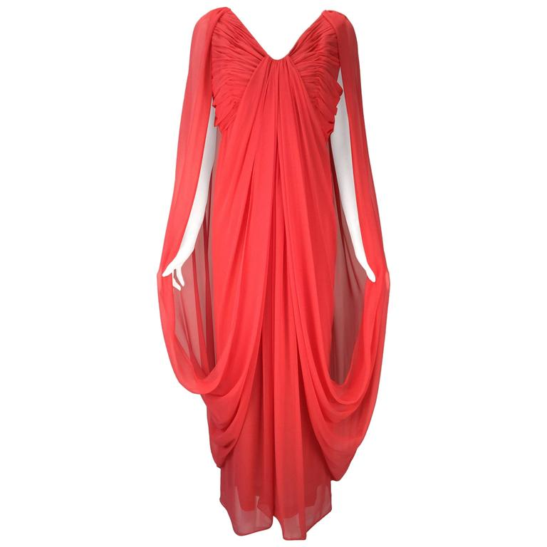 Victor Costa Coral Grecian Draped Chiffon Evening Dress, 1970s   For Sale