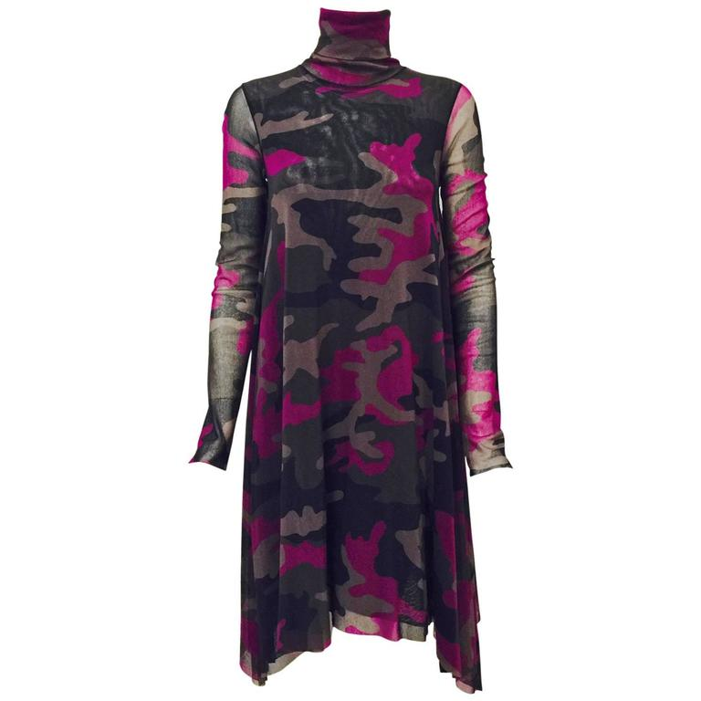 Jean Paul Gaultier Soleil Camouflage Turtleneck Long Sleeve Shift Dress