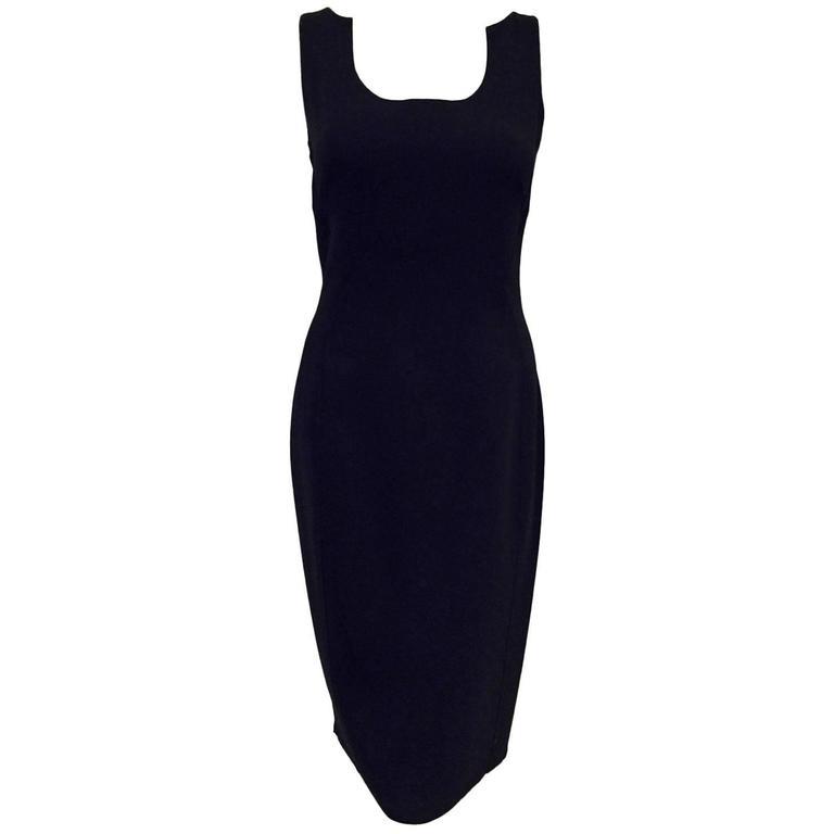 Classic Chado Ralph Rucci Sleeveless Sculpted Black Wool Sheath Dress