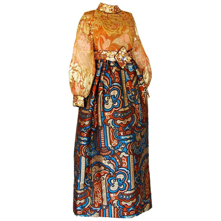 Burke Amey Evening Gown Exquisite Gold Silk + Bold Brocade Tapestry + Belt 70s S