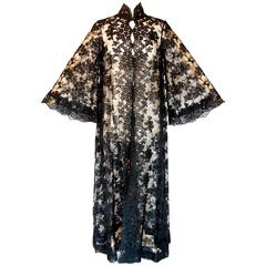 Ron Amey Attr. Fabulous Black Lace Opera Coat with Angel Sleeves Size M 1970s
