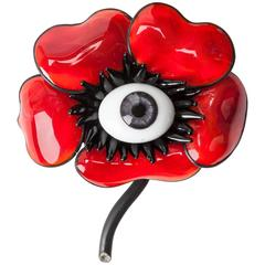 MWLC  Surrealist  Poppy Brooch