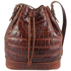 Lana Marks Russet Crocodile Drawstring Bucket Bag