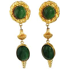 1970s William de Lillo Emerald Green + Gold Vintage Clip On Earrings Signed