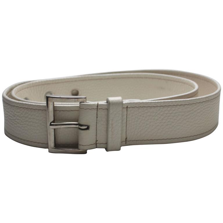 Mens Creme Leather Prada Belt