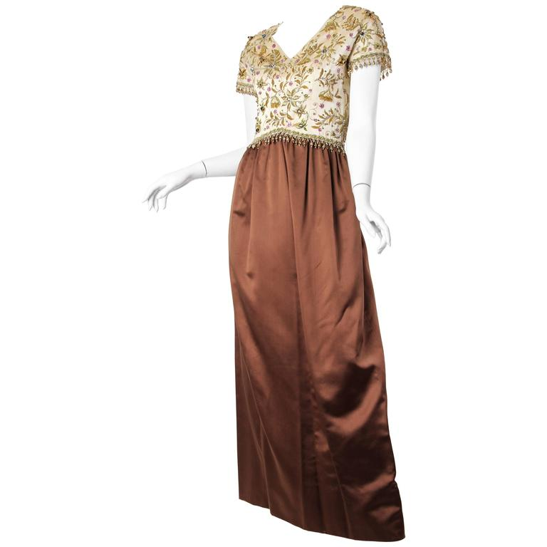 1950/60s Beaded Silk Gown