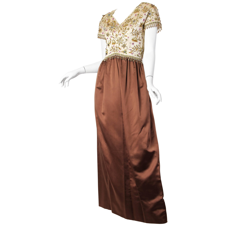 1950S BALENCIAGA Style Ivory & Brown Silk Duchess Satin Gown With Elaborate Gol
