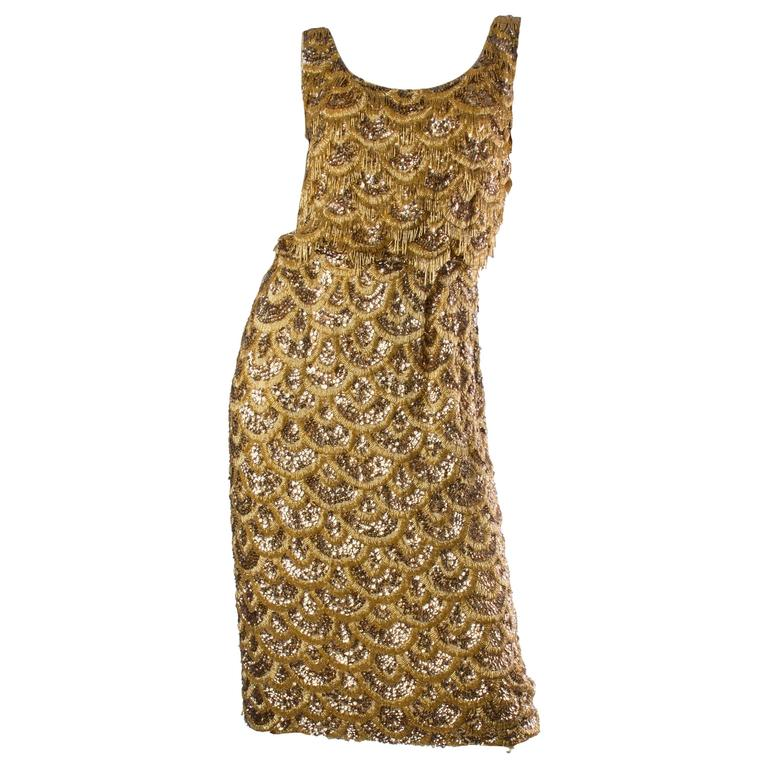Early 1960s Beaded Gold Fringe Bombshell Mermaid Dress