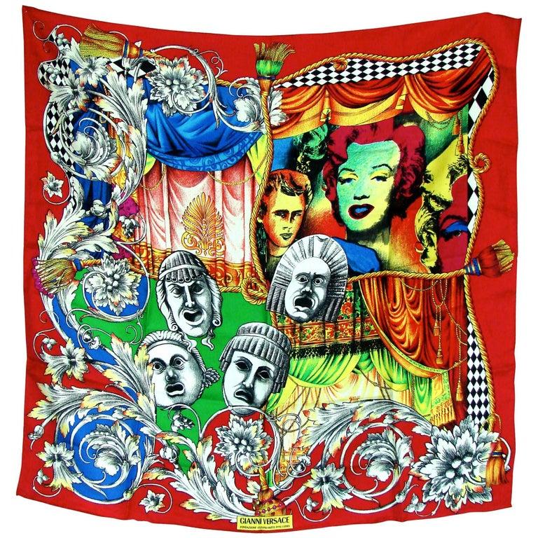 Versace Silk Scarf 35in Pop Art Fondazione Antonio Ratti Marilyn Monroe Rare For Sale