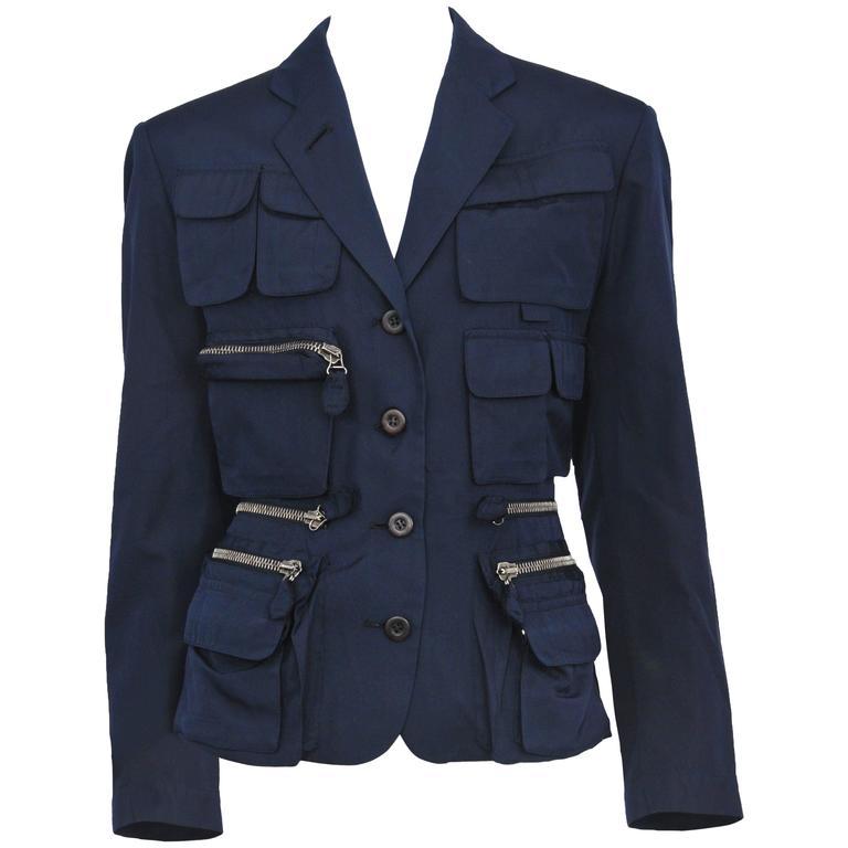Jean Paul Gaultier Blue Utilitarian Blazer For Sale
