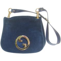 Gucci Italy Rare Midnight Blue Suede Shoulder Bag c 1970s