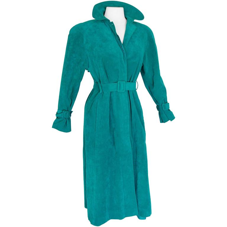 Vibrant Lilli Ann Turquoise Ultrasuede Belted Trench Coat Size M  1