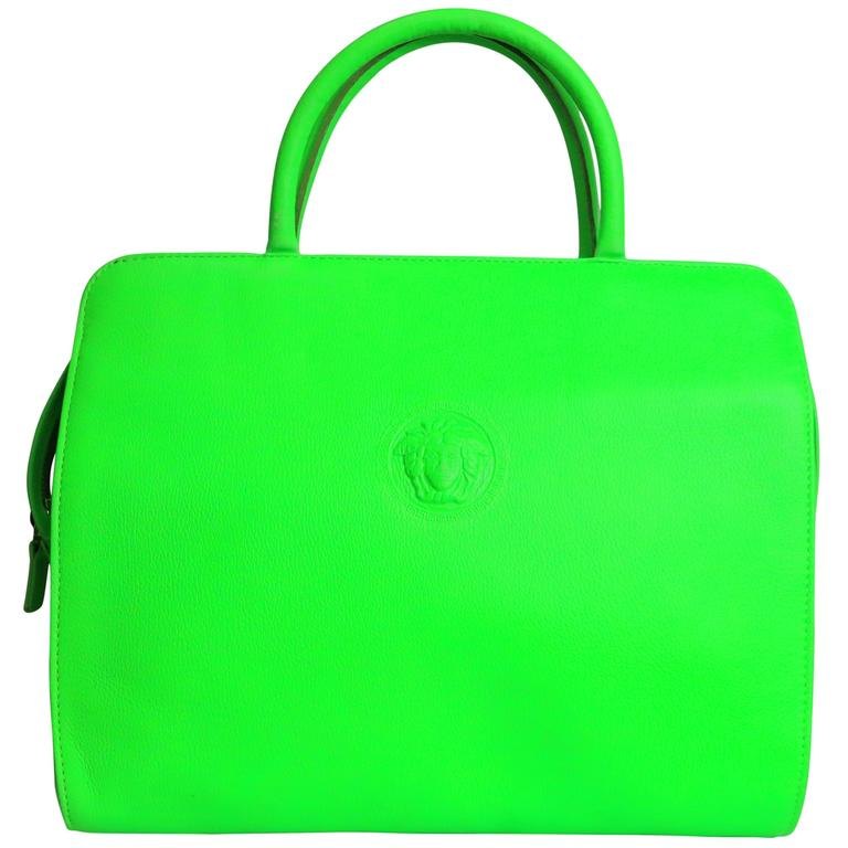Gianni Versace Couture Neon Green Leather Bag For