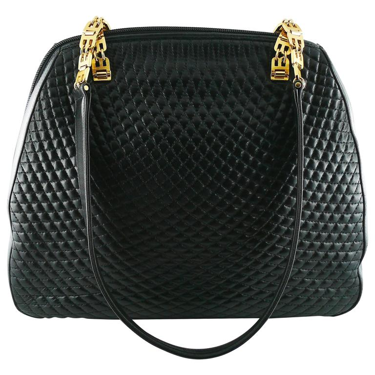 Bally Vintage Quilted Black Leather Shoulder Gold Chain Bag For
