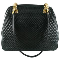 Bally Vintage Quilted Black Leather Shoulder Gold Chain Bag