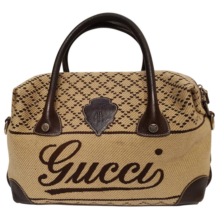 Gucci Brown Wool knit bag