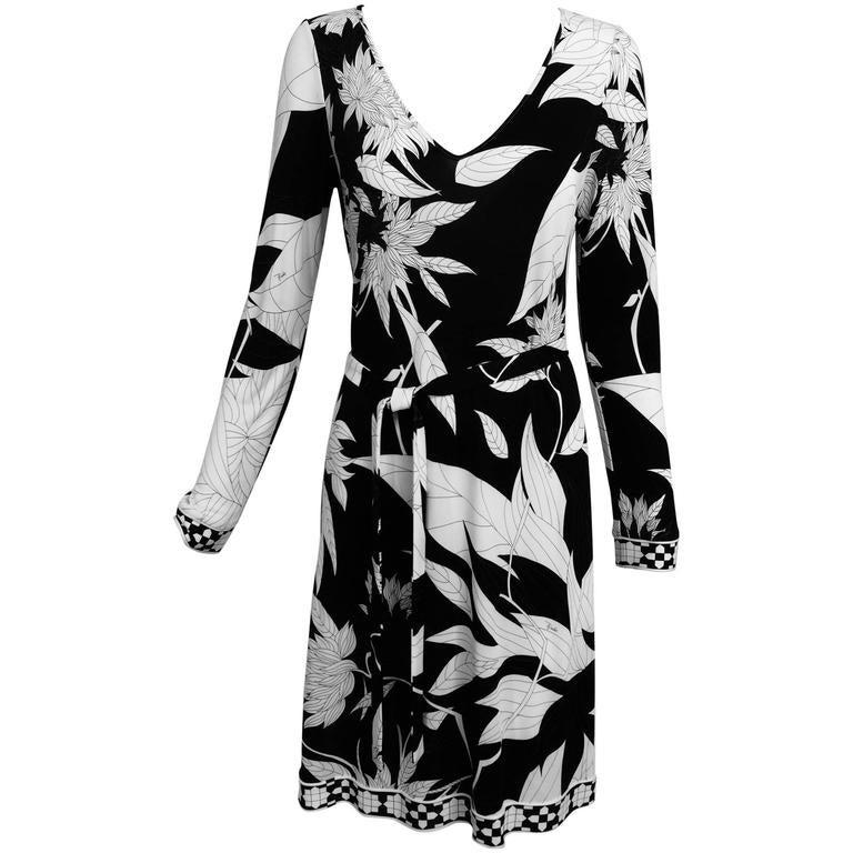 Pucci black & white long sleeve silk jersey dress