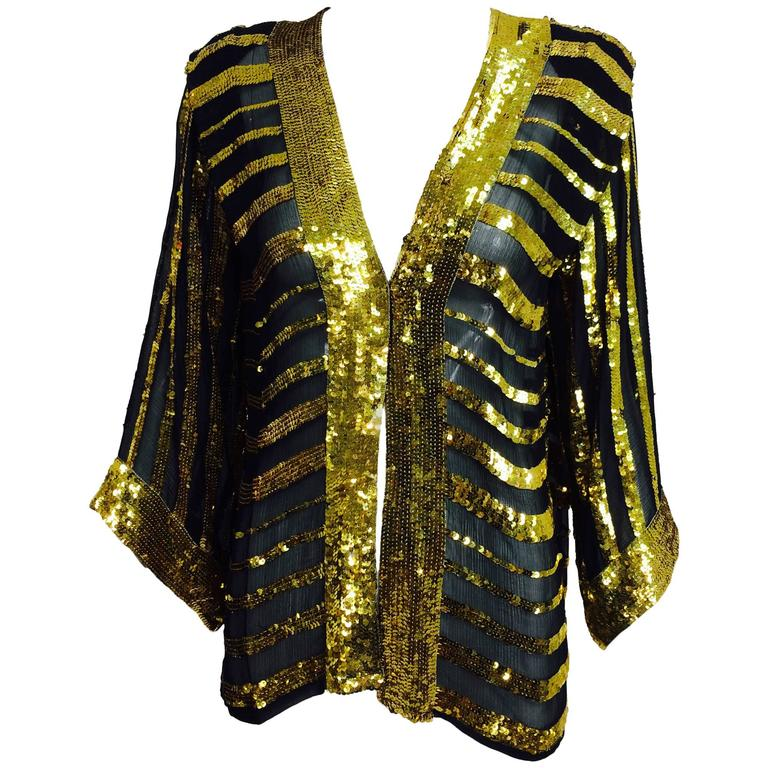 Vintage Sweelo black silk and gold sequin kimono style jacket 1970s unworn