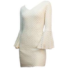 60s White Crochet Mini Dress with Bell Sleeves