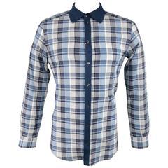 DOLCE & GABBANA Men's Size M Cotton Blue & White Knit Collar Long Sleeve Shirt