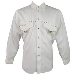 GIANNI VERSACE Size XL Men's White Cotton Gold Studded Western Long Sleeve Shirt