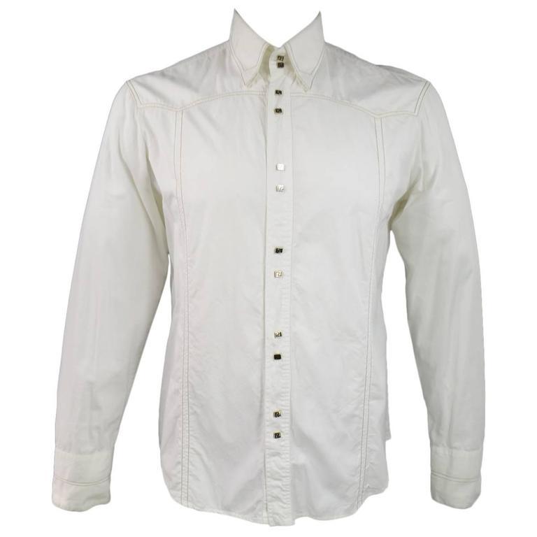 95899d68 VERSACE JEANS COUTURE Size L Men's Off White Cotton Long Sleeve Gold Snap  Shirt For Sale