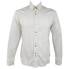 VERSACE JEANS COUTURE Size L Men's Off White Cotton Long Sleeve Gold Snap Shirt