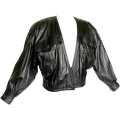 Fabulous Gianni Versace Black Dotted Lambskin Leather Jacket 1980s Size M