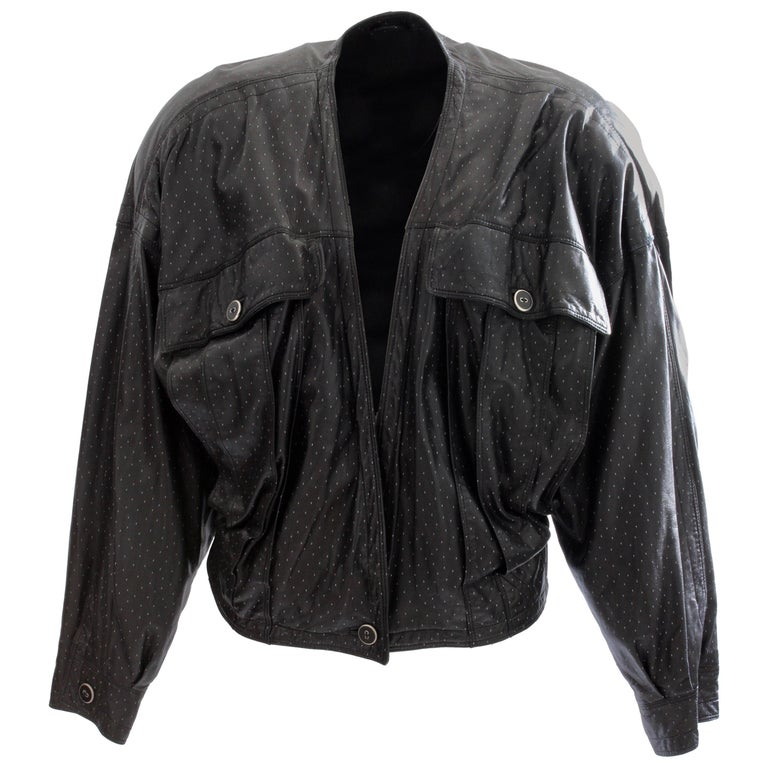 Early 90s Gianni Versace Black Dotted Lambskin Leather Jacket Size M