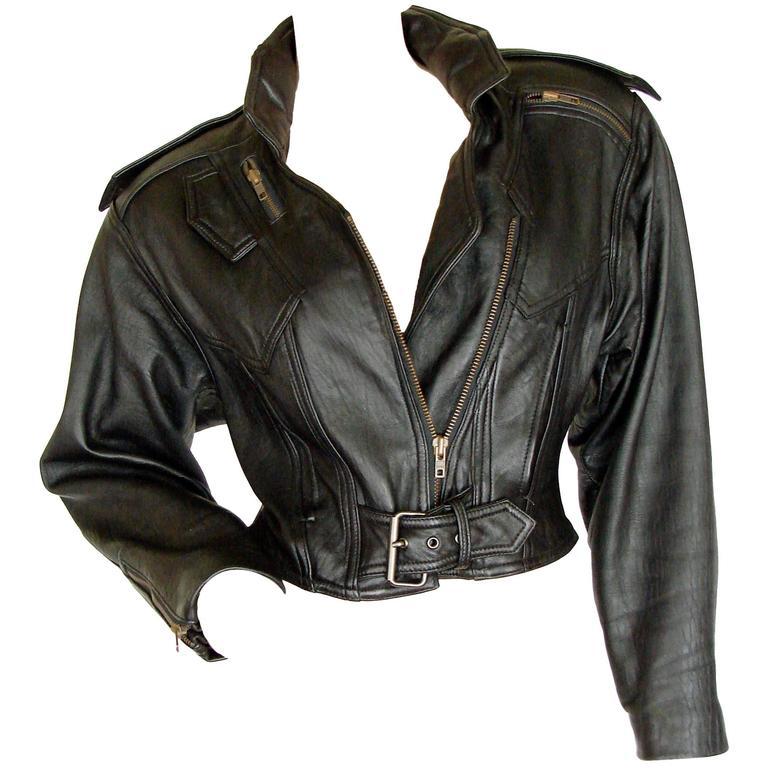 LA Roxx Black Leather Motorcycle Jacket with Zippers Cropped Moto Sz S 1