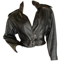 LA Roxx Black Leather Motorcycle Jacket with Zippers Cropped Moto Sz S
