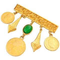 Ben Amun Gold Bar Pin with Etruscan Charms Brooch 1980s
