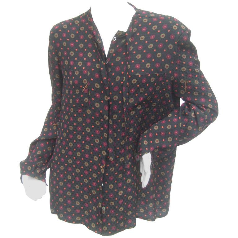 7b29277f3af1 Salvatore Ferragamo Italy Silk Print Bow Tie Blouse c 1980s For Sale ...