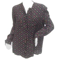 Salvatore Ferragamo Italy Silk Print Bow Tie Blouse c 1980s