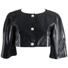 Chanel 13P Black Leather Crop Jacket with Pearl Buttons