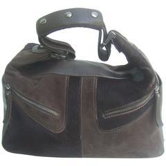 Tod's Chocolate Brown Leather Pony Hair Handbag